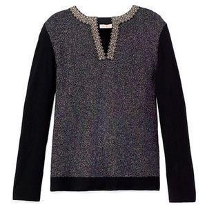 Tory Burch Black Silver Courtney Sweater Tunic (M)